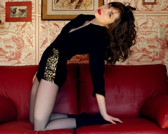 leopard velvet high waisted retro style knickers panties lingerie