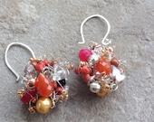 Hot Summer Silver cluster earrings