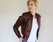 RESERVED for steccino - Cool 80s Wilsons Oxblood Red Brown Cropped Leather Moto Jacket / Small Outerwear