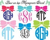 Bow on Monogram Vinyl Decal / Personalized Vinyl Sticker / Computer Decal / Wall Vinyl / Car Decal / Phone Sticker / Monogram / Vinyl Decal