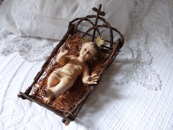 Antique French Religious Statue Infant Child Baby Jesus Christ