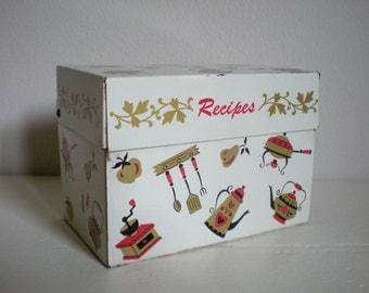 Recipe Box, Old Metal Container ~ Kitchen Tin Boxes for Recipes