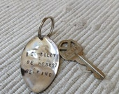 Antique silver spoon key ring / key chain