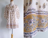 Vintage 80's Indian Cotton Gauze Tunic Top XS S or M