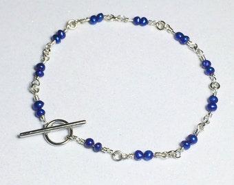 Sapphire Pearl Bracelet Fresh Water Pearl Stocking Stuffer Christmas Gifts Bracelet Beaded Bracelet September Births