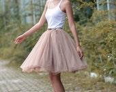 Tulle Skirt Tea length Tutu Skirt Knee length tulle tutu Princess Skirt Wedding Skirt in Nude Color - NC455
