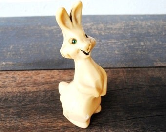 Old Toy Easter Bunny Rabbit, Celluloid Antique Carnival Prize Doll Figurine, Rhinestone Green Eyes