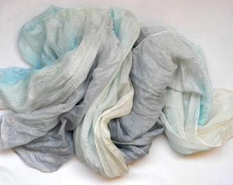Sky Blue Beige and Grey Silk Scarf.Beige Grey Blue Ruffled Silk Scarf.Hand Painted Silk Scarf.Sky Blue Scarf.Handmade Silk Scarf.Ombre Scarf
