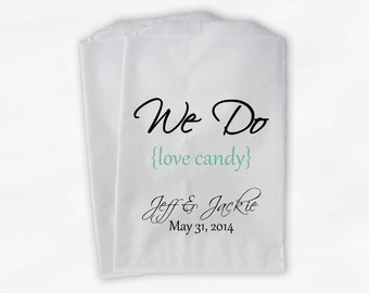 We Do Love Candy Buffet Bags - Custom Favor Bags for Wedding, Birthday, Shower - Mint Green Paper Treat Bags (0063)