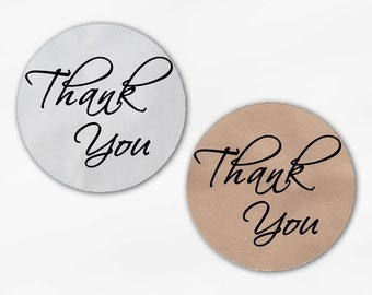 Thank You Script Wedding Favor Stickers in Black - Custom White Or Kraft Round Labels for Bag Seals, Envelopes, Mason Jars (2025)