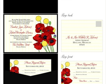 Red Poppie & Yellow Billy Button Wedding Invitations Pocketfolder Style