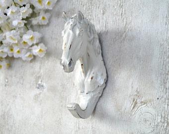 Horse Head Hook Resin Wall Hook Shabby Chic