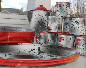Tres Monterrey Speckled Enamelware Dishes 27 Piece Set Mexico Black White and Red