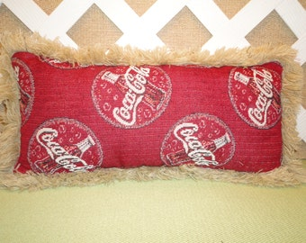 Coke Pillow in Red with Large Bottle Caps and White Lettering,  Creamy Beige Fringe