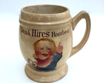 Antique Hires Root Beer advertisement mug / cup