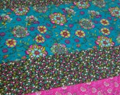 Plush fleece Baby Blanket/Modern Quilt - girl - boho paisley stripe -  pink, teal, gray
