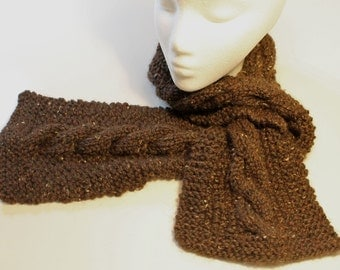 Alpaca scarf with large cable: brown
