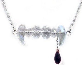 Vampire Fang Necklace - Swarovski Crystal - Halloween Jewelry by Weirdly Cute