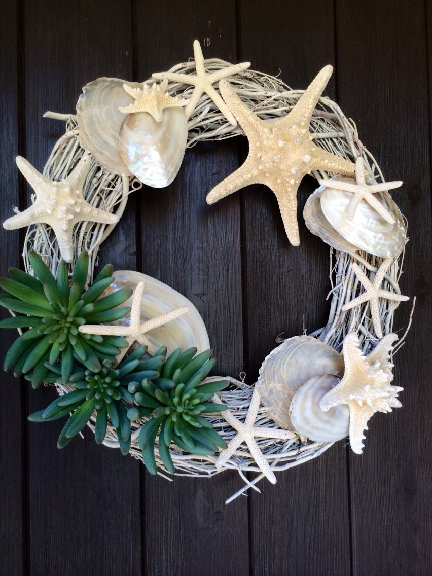 Succulent And Shell Grapevine Wreath