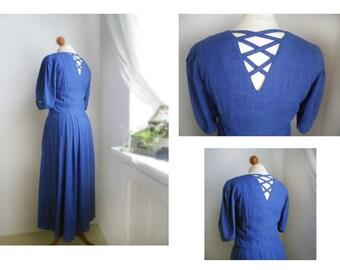 Trachten folk blue maxi dress/ Crossback dress/  floral embroideries /M/ Linen Dress / Peasant folk farmhouse Oktoberfest Germany