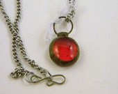 Soldered Red Scarlet Ruby Glass Pebble with Vintage Lace Gift