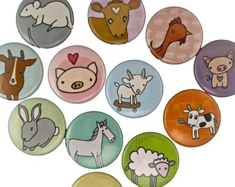 Farm Friends - Pick your 4 Magnets - Farm Animal Magnets - Goat, Pig, Cow, Horse, Sheep, Chicken