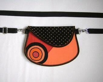 Hip Bag Small Utility Belts -mini waist bag- belt bag Belt Little Purse festival wear mixed fabrics Orange Black polka dots  with circles