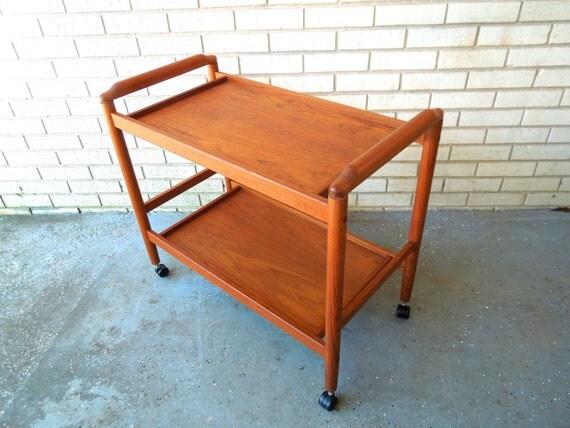 mid century danish modern teak bar cart by goodbonesvintageco. Black Bedroom Furniture Sets. Home Design Ideas