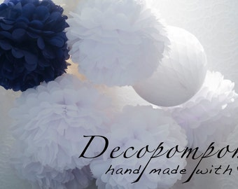 10 Large Tissue PAPER POM POMS Kit - wedding decorations -  your colors