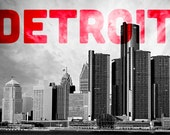 Detroit Photography - Detroit Black and White Skyline with DETROIT in the sky