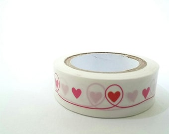 Masking tape, red hearts, washi tape