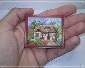 Cottage in the garden, Miniature, doll House, cross stitch