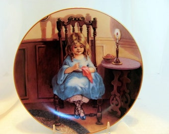 A Stitch in Time, one of the Fond Memories plate collection by M.M. Grimball 1988 Hamilton Collection