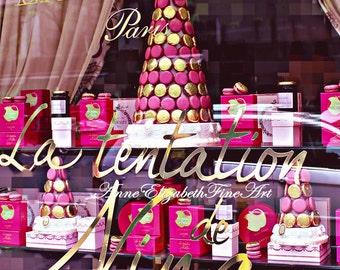 Laduree Shop,Macaron, Pink Print, Fushia Art. Macaroon,Sweet,Pastry,Gold,Raspberry,Paris,Food,Kitchen,Fashion,Marie Antoinette,Hot Pink,Neon