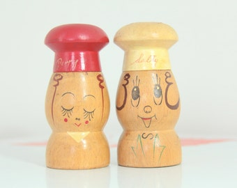 Vintage Salty and Peppy Wooden Shakers