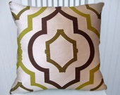 Chartreuse, Brown Pillow Cover 18x18 or 20x20 or 22x22--Decorative Throw Pillow- Accent Pillow