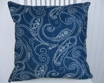 Denim, White Paisley Decorative Pillow Cover 18x18 or 20x20 or 22x22 Throw Pillow-- Accent Pillow Cover