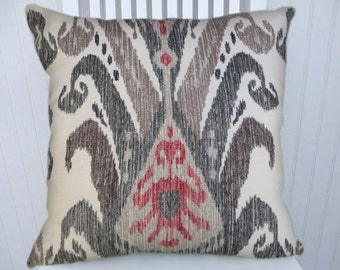 Grey Decorative Throw Pillow Cover-18x18 or 20x20 or 22x22- Red, Black Ikat Pillow Cover- Accent Pillow