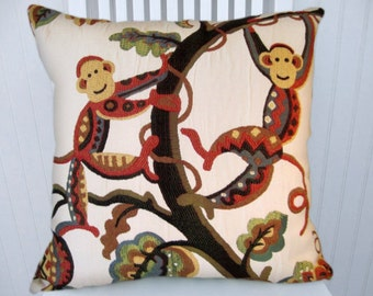 Decorative Animal Pillow Cover--Throw Pillow--Funky Monkeys-- 18x18 or 20x20 or 22x22-Monkey-Red, Blue, Green, Gold, Black, Cream
