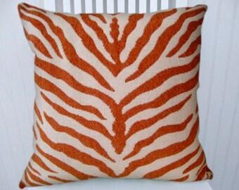 Orange Zebra Pillow Cover 16x16--Duralee Decorative Pillow Cover Zebra Throw Pillow-- Accent Pillow.