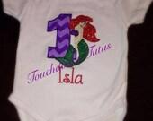 The Little Mermaid birthday onesie or top - numbers 1-9