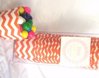 Small Orange Chevron-Boxed-Nut/Candy/Baking Cups-20ct--Parties--cupcakes-gumballs-snacks