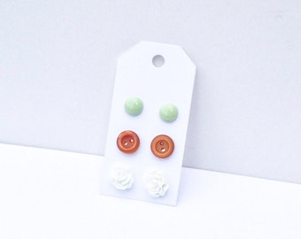 Post Earrings / 3 pairs / Mint Green, Nutmeg Brown, and White / Pastel