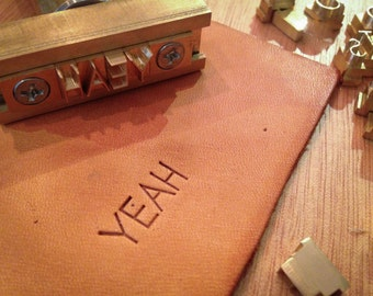 Interchangeable Alphabet Letter Stamps with T-slot holder, 26 characters for leather and wood embossing or branding