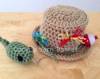 Fishing Fisherman Hat & Fish, Newborn, 0-3, 3-6, 6-12, Photography Prop - MADE TO ORDER