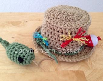 Fishing Fisherman Hat & Fish, Newborn, 0-3, Photography Prop - MADE TO ORDER