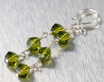 Olive Green Crystal Earrings | Long Dangle Earrings | Olivine Swarovski Elements