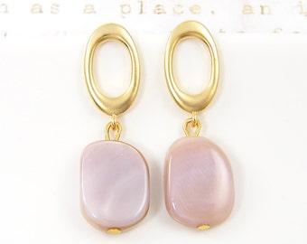 Pink Shell Earrings - Gold Oval Post Earrings Mauve Dusty Rose Dangle Drop Earrings