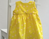 Baby girl cotton dress size 6-9 months 68 centilong yellow pink flamingos