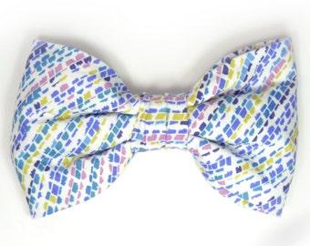 Mens Clip-On Bow Tie Wedding  blue pink mustard striped bowtie